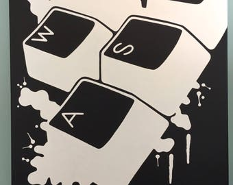 WASD Keyboard Splatter Painting