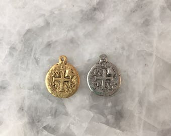 Pirate Coin Doubloon 23mm Gold or Silver, Charm, Replica, Pieces of Eight Coin, 2 Sided, Lead Free Pewter