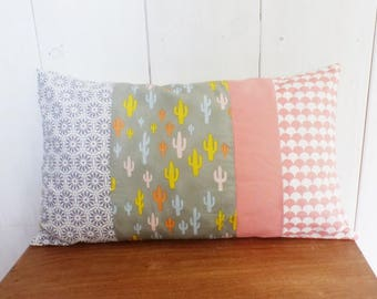Cushion cover 50 x 30 cm fabric patchwork CACTUS, gray Chevron, scales and flowers, pink, yellow, blue