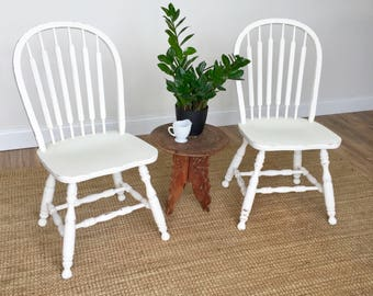 White Kitchen Chairs - Farmhouse Dining Chairs - Country Cottage Furniture - Shabby Chic Chairs - Spindle Back Chairs, Windsor Dining Chairs