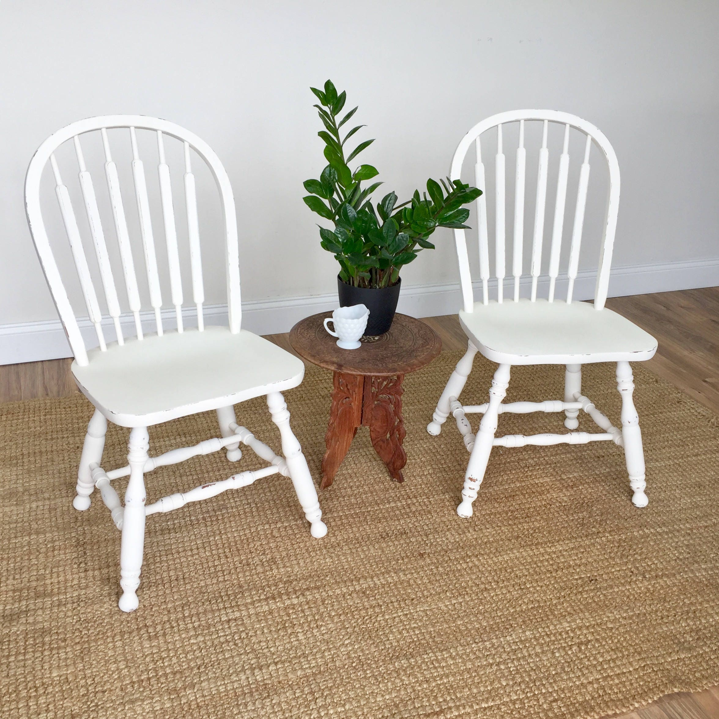 White Kitchen Chairs Farmhouse Dining Chairs Country Cottage