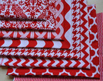 Fabric Bundle, Basic Red and White, 8 Fat Quarters, Chevron, Polka Dot, Damask, Houndstooth, Quatrefoil, Quilting, Cotton Sewing Material