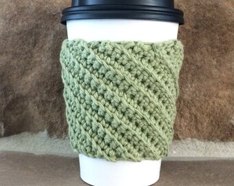 Crocheted Coffee Cup Cozy - Cup Sleeve - Country Green