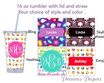 Personalized Tumblers with lid and straw - teenage girl tumbler, tween girl tumbler, teenage girl gifts, emoji tumbler, emoji cup with lid
