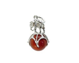 Sterling Silver Elephant On Ball Cornelian Fob Charm For Bracelets