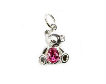 Sterling Silver Teddy Bear Pink Rhinestone Crystal Charm For Bracelets