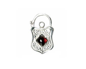 Sterling Silver Garnet Set Engraved Padlock For Bracelets