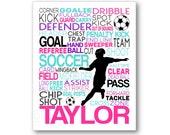 Girl's Soccer Poster, Girls Soccer Typography, Gift for Soccer Players, Soccer Gift, Soccer Team Gift, Soccer Print, Soccer Player Art