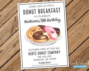Donut Breakfast Party Invitation, Donut Breakfast, Doughnut Party, Donut Birthday Invitation, Printable Birthday Party Invitation