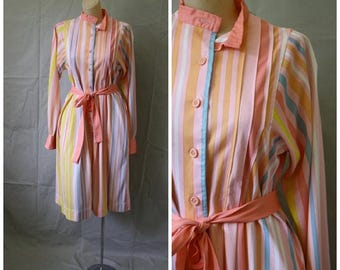 Sale Vintage 1970's Power Dress / Vintage Fancy Frock / 1970s Executive Dress / 70s Peach Stripes Dress / Modest Day Dress  M