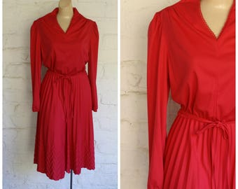 Vintage Pink Dress / 1970s Office Dress / Modest Day Dress / Rosy Secretaries Dress M/L