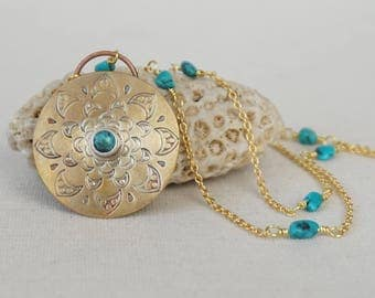 Turquoise on Handstamped Brass Mandala Pendant - Turquoise Jewelry, Brass Jewelry, Mandala Necklace, Mandala Jewelry, Brass Necklace