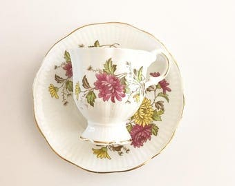 Vintage Tea Cup /  Floral  - Gold Trim ~ Antique Tea cup / Made in England~ Cup & Saucer - Bone China /Bridal Tea /Royal Dover China