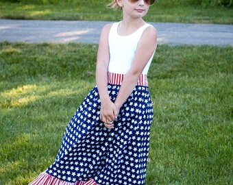 Red White and Blue Maxi Dress Patriotic Maxi Dress July 4th Maxi Dress Fourth of July Maxi Dress Toddler Maxi Size 2T 3T 4T 5 6 6X 7 8 10 12