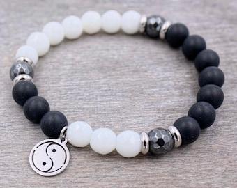 Bohemian jewelry Bracelet for women Boho stretch bracelet Yoga mala bracelet, Buddhist meditation beads, Yin Yang Healing bracelet Yoga gift