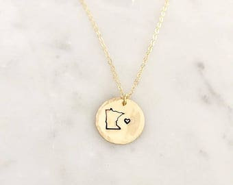 Minnesota Love Necklace, Stamped, Disk Necklace, MN Necklace