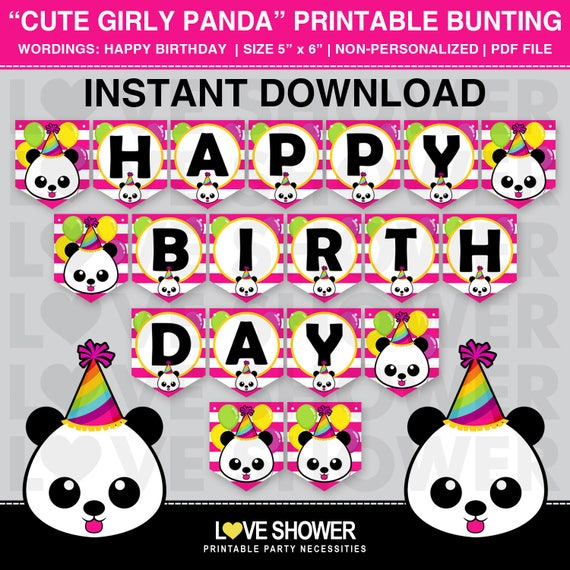 Cute Girly Panda Printable Flag Banner. Happy Birthday