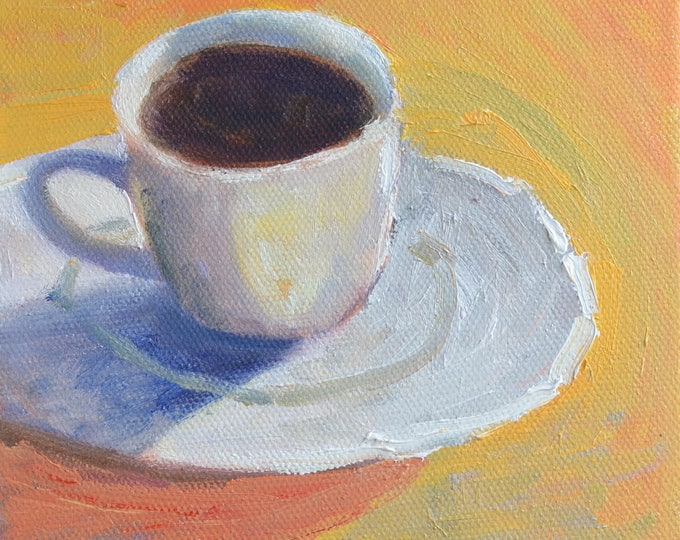Coffee gift, Coffee art,  Modern oil painting, Still life of coffee cup, coffee mug,  6x6,  small square modern painting, kitchen decor