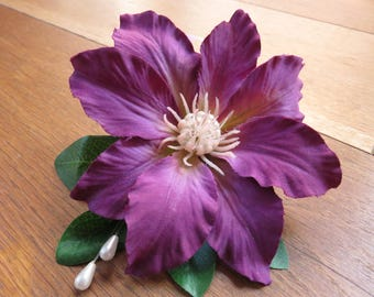 Purple Clematis Corsage, Wedding, Prom or Event.