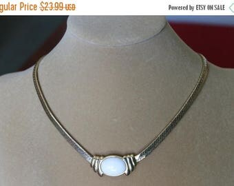 ON SALE Trifari 17 Inch Necklace with White Lucite Cabochon, Trifari Collector, Herringbone chain, Mother's Day gift,Collector's gift, Birth