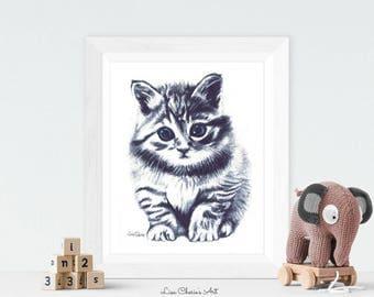 Kitten Print, Kitten Baby, Nursery Art, Prints, Kitten, Nursery decor print, Baby animal print, Cute Cat Print, Blue eyes kitten