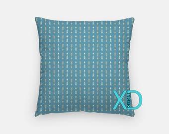Blue Arrow Pillow, Autumn Pillow Cover, Arrows Pillow Case, Blue Pillow, Artistic Design, Home Decor, Decorative Pillow Case, Sham