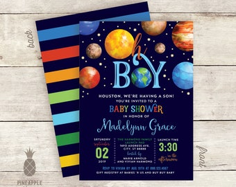 Oh Boy! Outer Space - Themed Baby Shower Invitations