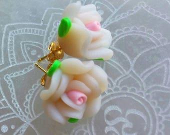 Pink Rose Earrings, Flower Earrings, Floral Jewelry, Spring Jewelry, Pink Earrings, Pink Jewelry, Rose Jewelry, Post Earrings, Gift for Her