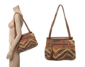 Vintage 80s Southwestern Indian Kilim Leather Satchel Bag 1980s India Tribal Woven Tapestry Handbag Ethnic Hippie Boho Shoulder Bag