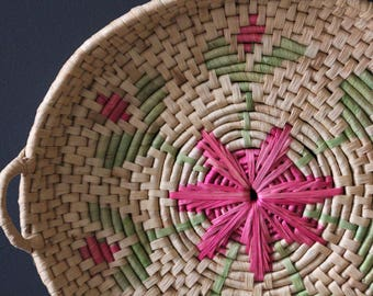 Boho Style Vintage Grass Woven Basket or Tray
