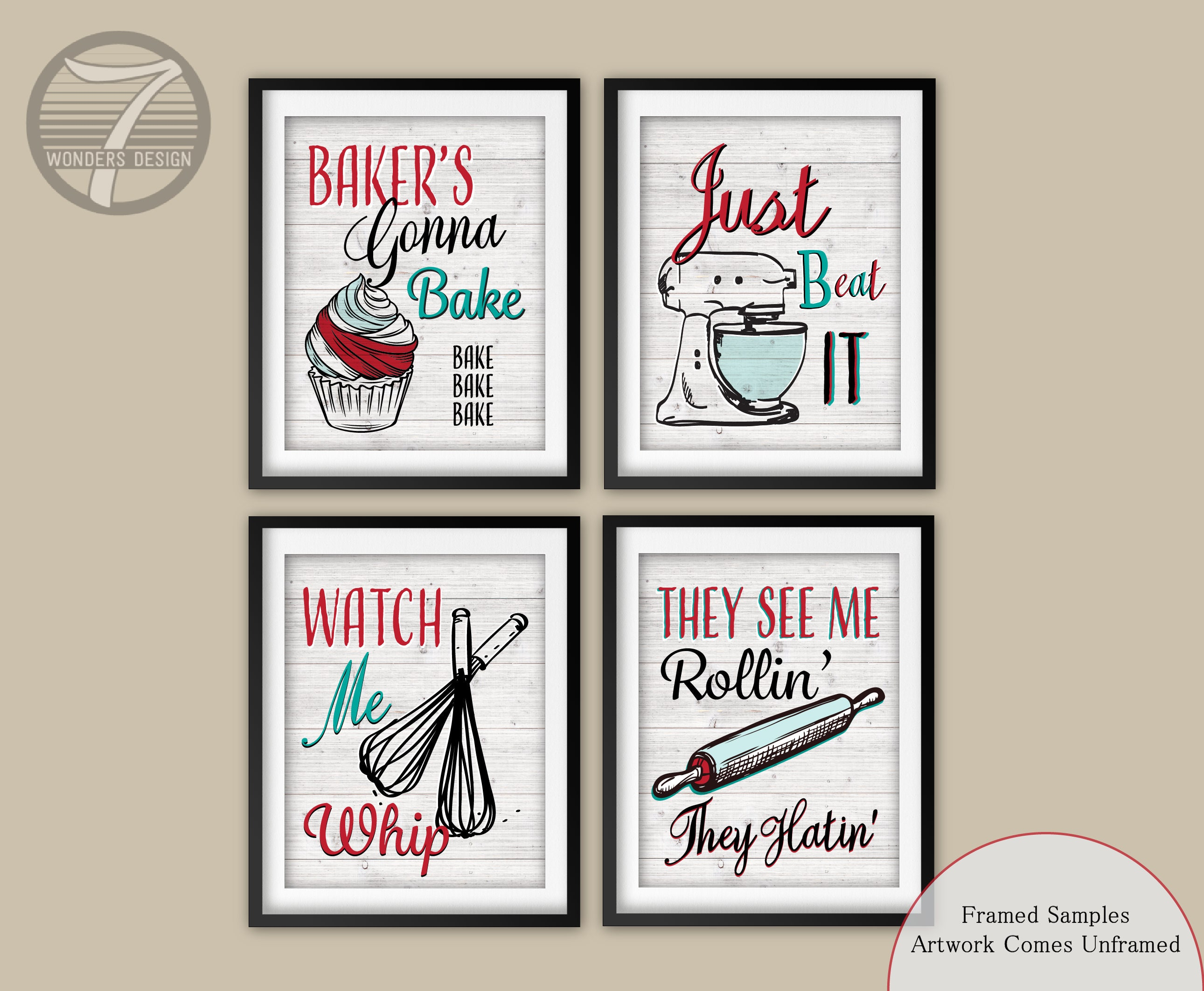 Funny kitchen quote art print set red teal kitchen decor for Funny kitchen set