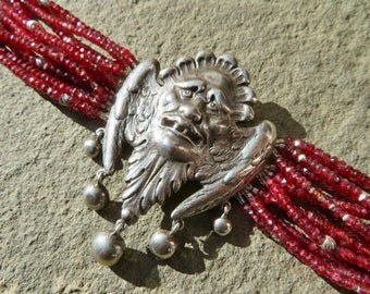 Peruzzi Brooch Bracelet,Repurposed Brooch Bracelet,Spinel Multi Strand Bracelet,Devil Angel Jewelry,Red Gemstone Bracelet,Deco Cuff Bracelet