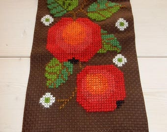 Swedish hand embroidered wall hanging 1970s / apples