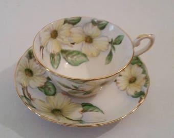 Vintage Tuscan Bone China Tea Cup and Saucer Dogwood Pattern Fine English Bone China Made in England