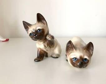 SALE- Vintage Ceramic Brown kitty Figurine
