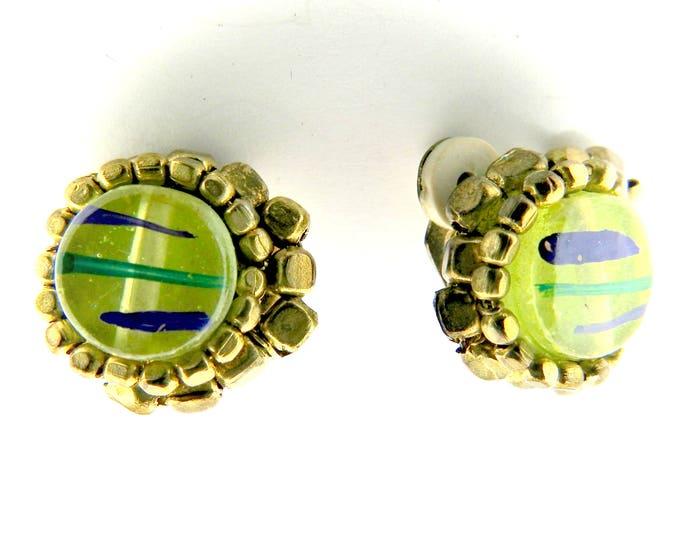 Clip earrings for non pierced ears, vintage green.