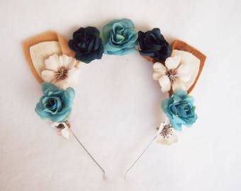 Tabby Mini Cat Ears with Teal and Navy Roses