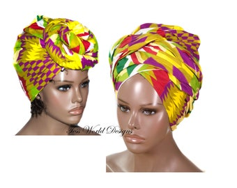 Traditional Kente Print headwraps / African Head wraps/Fabric from Ghana/ African hair accessory/ African Fabric/ African Head scarf/ HT198
