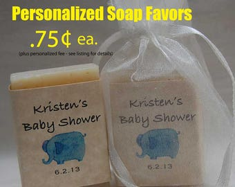 Baby Shower Favor - Elephant Favor-handmade soap Party Favor - Personalized Hand Made Soap Favors -  soap Favors.