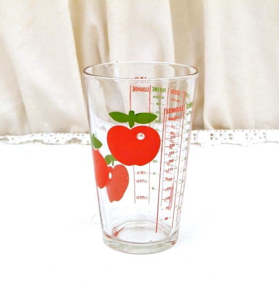 Vintage French Mid Century Henkel Kitchen Measuring Glass Cup with Red Apple Pattern, 1960s 1970s Cooking Graduated Jug from France