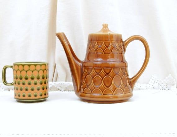 Vintage Mid Century Modern Ceramic Coffee Pot with Geometric Pattern, 1960s Pottery Tea Pot, Retro Kitchen Decor