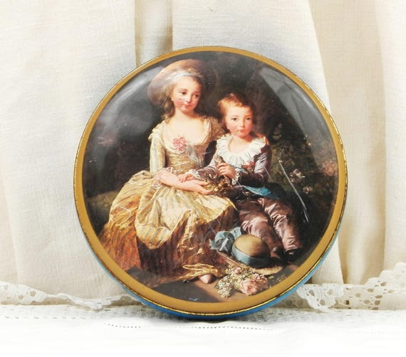 Vintage French Lithographed Metal Tin With Image of 18th Century Oil Picture Queen Marie Antoinette's Children, Collectible Box from France