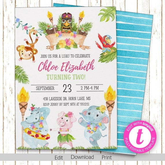 Luau party invitation kids luau birthday printable editable il570xn filmwisefo