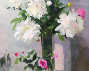 Peony Painting, Colorful Oil Painting, Pink and White Flowers Painting, Floral Artwork Modern Art
