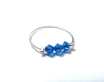 Royal Blue swarovski beaded ring ring