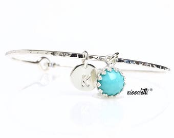 Genuine Turquoise Bracelet / Blue Turquoise Charm Bangle / December Birthstone / December Birthday Jewelry Gift for Her