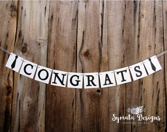 Congrats banner with tie - graduation banner - congratulations, name - high school, college, university convocation banner new job- IATY127