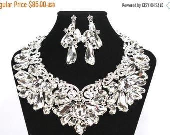 SALE SALE Bridal Statement Necklace, Bridal Crystal Necklace Set, Crystal Wedding Necklace,  Crystal Evening Necklace   E - 81