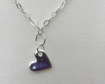 Sterling Silver Chain with Heart Charm, Diamond shaped Sterling Silver chain with irregular Heart Charm, Handmade Design Chain Necklace