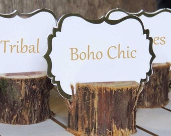 SALE 12 Boho Chic Rustic Place Card Holders, Bohemian Boho Party Chic Tribal Gypsy Wood Tree Food Card Holders